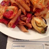 Pasta shells with fennel & tomato sauce (Morning Star Commie Chef recipe)