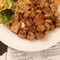 Tofu with mushrooms and ginger (Morning Star Commie Chef recipe)