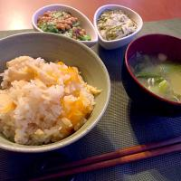 Steamed rice w/bamboo shoots&carrot🎍筍ごはん