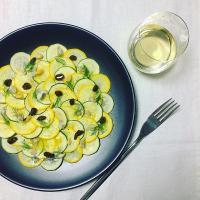 Zucchini Carpaccio with Gorgonzola, Pine Nuts, Raisins and Dill / ズッキーニのカルパッチョ