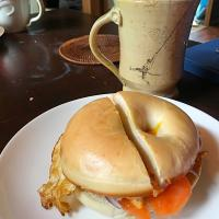 Salmon egg bagel breakfast