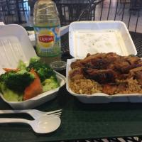 Bourbon chicken, spicy bourbon chicken & peppers, fried rice, fresh mix veggies & green tea