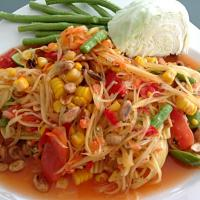 Authentic Somtum (Thai green papaya salad)  #somtum #papaya salad #Thai cuisine