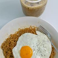 Instant Ramen & Instant 3 in 1 Owl  Iced Coffee shake in mason jar😍