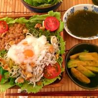 2017/07/19 #dinner Marinated avocado, Mozuku seaweed, Cold noodles with walnuts lettuce and mini tomatoes shirasu okura natto chukawakame seaweed and soft boile