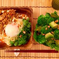 2017/07/21 #dinner Cold noodles with coriander almond natto kimchi with soft boiled egg, Marinated avocado lettuce and broccoli salad   パクチーアーモンドキムチ納豆の豆乳冷やし麺(パク