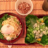 2017/07/22 #dinner Cold noodles with coriander walnuts almond with soft boiled egg, Marinated avocado Broccoli lettuce and scallops jelly salad, Natto  ナッツとコリアン