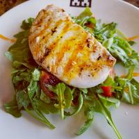 grilled swordfish citrus gastrique  arugula salad