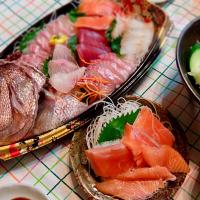 2017/08/16 #dinner with dad and mom Sashimi night (刺身盛合せ、サラダ)