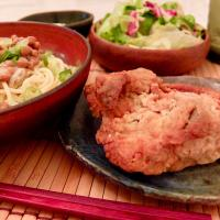 2017/08/17 #dinner Fried chicken, Natto with soft boiled egg and butter over cold noodles, lettuce salad  フライドチキン、温泉卵のせ納豆バターパスタ、レタスミックスサラダ