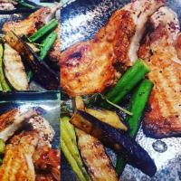 #porkchops  #Chefemanuel  Pan-seared Pork chops in fresh Sage & Garlic with Fresh Plums An Onions Asparagus,Okra,Egg Plant  BISTRO STYLE HOMECOOKING