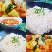 #homecooked #Chefemanuel  Thai Red Curry (Hot & Spicy )  Prawn Bamboo Eringi   mushrooms. with Cold Rice Noodles
