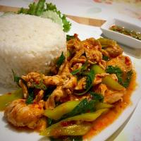 Fried pork in red curry