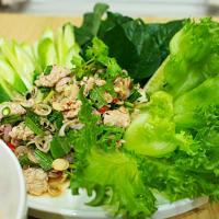"""Pra-moo"" is Spicy pork salad in Thai style, Hot and spicy fromThai chillies, sour from lime and good smell from Thai herbs. This manu can refreshing you after"