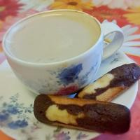 Milk coffee with mini Madeleines   #Madeleine #Coffee