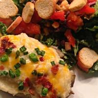 Twice Baked Potatoes &  SAlad 。^‿^。   #Dinner #Salad #Meat/Poultry #Quick and easy #Snack/Teatime