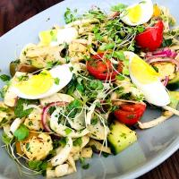 Vegetarian Salad - Heirloom tomatoes, middle eastern spiced halloumi, fennel, cucumber, red onion, egg, mint & pomegranate dressing