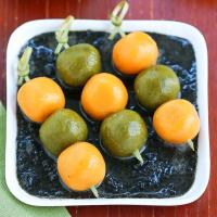 Pumpkin & matcha dango with kurogoma #団子
