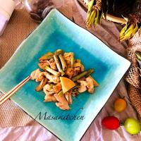 Stir fried bamboo shoots and chicken
