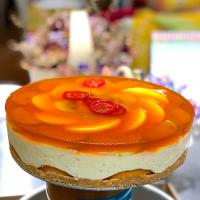 Handmade fruits cheesecake with honey jelly.