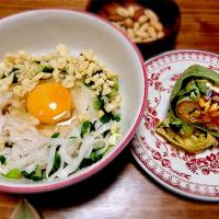 2018/06/19 #dinner Cold noodles with raw egg and Japanese green leek, 10 items vegetables salad wrap