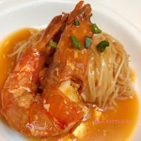 🥢Stewed handmade noodles with 🦐king prawn in supreme sauce
