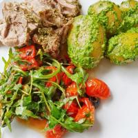 Lamb, Pesto Potatoes, roasted tomatoes and Rucola Salad