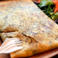 Gluten-free dairy-free crepe, with mushrooms, kale, beet, peppers, chickpea and pesto