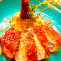 Guinea fowl stuffed with cheese and truffles,served with celeriac puree and Porto sauce.