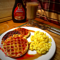 Blueberry Waffles & Scrambled Eggs