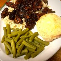 Sautéed Pork Loin, With Lemon Herb and Worcestershire Sauce, Green Beans, Brown Rice and English Muffin