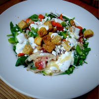 Spinach Salad; Tomato, Onion, Bean Sprouts, Jalapeño, Bell Pepper, Feta Cheese, Italian Dressing, Greek Yogurt Dressing & Croutons