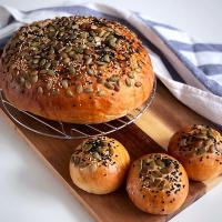 Soy milk bread with honey glazed sesame and pumpkin seeds