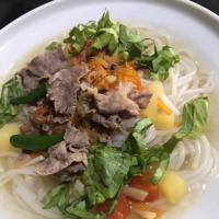 Rice Noodles with beef soup.