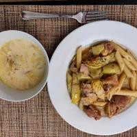 Chicken Atichoke Pasta and Creamy Cabbage Soup