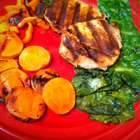 BBQ Grilled Pork Loin, Grilled Carrots and Yellow Bell Peppers & Fresh Kale