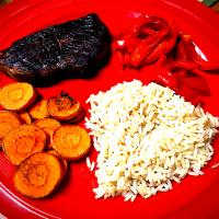 Grilled Petite Sirloin, Carrots and Red Pepper W/Brown Rice