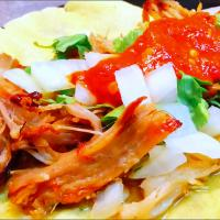 Pork carnitas taco with hot sauce
