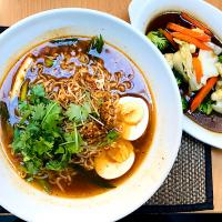 Vegetarian Ramen with egg and mixed veg side.