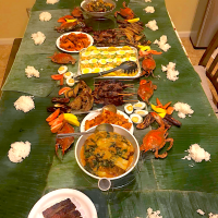Friends birthday boodle fight. All dishes were layed on the banana leaves