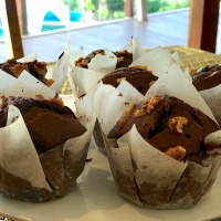 Double chocolate muffins with walnuts
