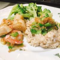 Scallops,shrimp with garlic sauce and coconut rice