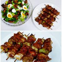 chicken skewers and mixed salad