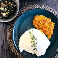 Traditional South African Maize Pap with Chakalaka sauce and Marog (spinach)