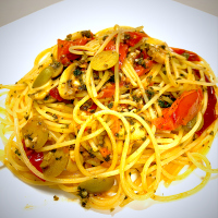 Tomato, Mushroom and Caper Spaghetti with a touch of garlic and anchovy