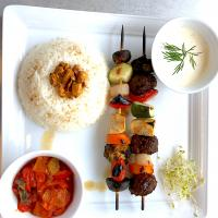 Meatball Vegetables sticks, Almond-Buttered Rice, Tomato-Paprika Pickle Salad, Tartar Dipping Sauce