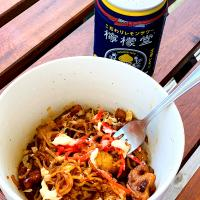 Homemade Yakisoba with pork kimchi and lotus root