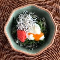 明太しらす温玉丼          Spicy cod roe,whitebaid,soft-boiled egg bowl