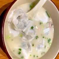 Vegetable and pork wanton in signature pork bone soup