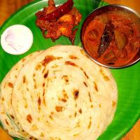 Parotta with Chicken Sukka, Lamb liver curry and Curd Pachadi